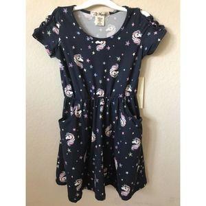 Unicorn Stars Strappy Short Sleeve Pockets Dress